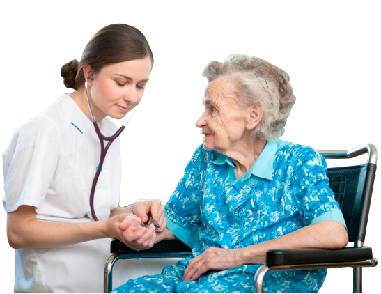 nurse holding a hand of an old woman
