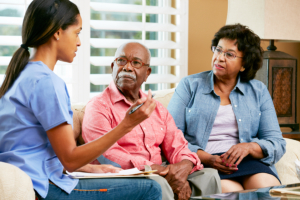 elderly couple with a healthcare agent